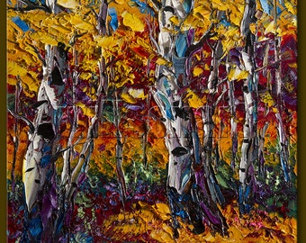 Birch Tree Forest Autumn Landscape Painting Oil on Canvas Textured Palette Knife Modern Original Art Seasons 16X16 by Willson Lau