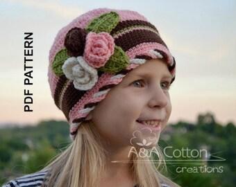 CROCHET Pattern, Beanie tutorial, Girl Crochet Hat,  Baby Toddler Child Adult sizes Lindsi Garden Hat #045