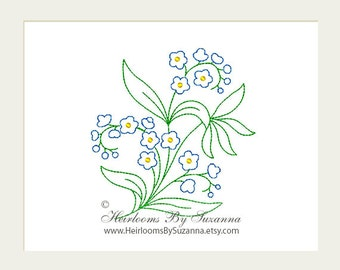 Machine Embroidery - Flower - Forget-Me-Not - Floral Design - Redwork - Colorwork - Machine Quilt Embroidery - 3 Sizes - Flower No.1