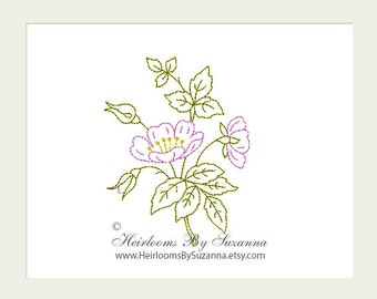 Machine Embroidery - Flower - Wild Rose - Redwork - Colorwork - Machine Quilt Embroidery - INSTANT Download - 3 Sizes - Flower No.5