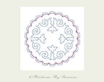 Machine Embroidery - INSTANT Download - Round Antique Motif - Redwork - Colorwork - Quilt Embroidery - 3 Sizes - Round Motif No.8