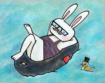 Hipster Bunny Print: Swim