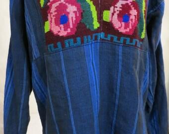 Vintage Bohemian Hippie Top Featuring Crewel Work Ethnic Handmade