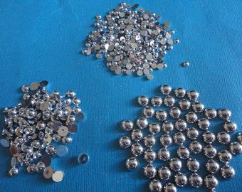 Kawaii silver AB flatback pearl mix more than 200 pcs--USA seller