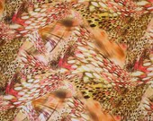 SPECIAL--Orange and Yellow Abstract Animal Print Polyester Scuba Knit Fabric--One  Yard