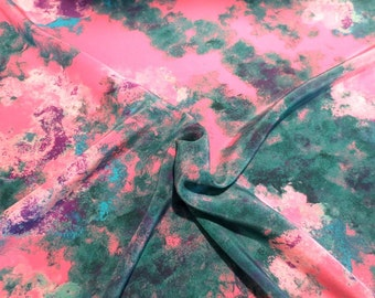 SPECIAL--Pink and Green Marbelized Abstract Print Pure Silk Crepe de Chine Fabric-One Yard