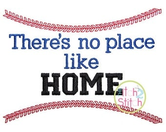 No Place Like Home Baseball Applique Design in hoop size(s) 5x7, & 6x10 INSTANT DOWNLOAD now available