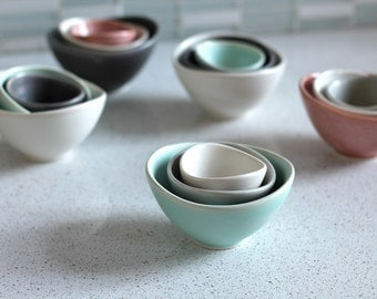 Mini Nesting Bowls - Sea foam, gray, white  - set of 3 - Pottery Bowls - Stacking  prep bowls