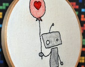 "Robot Love 6"" Hooped Embroidery"