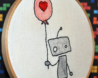 """Robot Love 6"""" Hooped Embroidery"""
