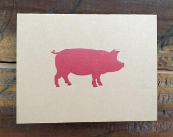 Hog Letterpress Folded Card