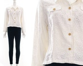 Vintage Cream Lace Button Down Jacket Bohemian Boho Coat Small Medium
