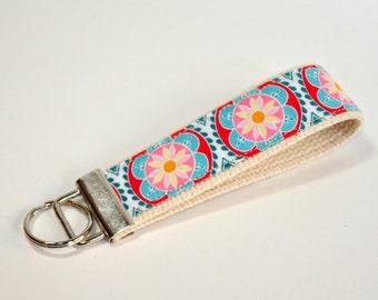 Key fob Keyfob wristlet  Key chain pink and blue flowers