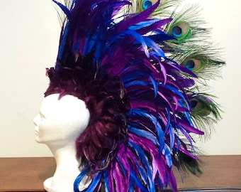 Blue and Purple Warrior Feather Mohawk- Feather Headdress, Fascinator, peacock feathers, Costume, masquerade, samba,
