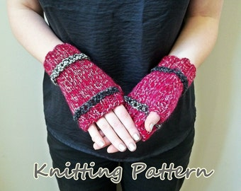 DIY Fingerless Gloves Knitting Pattern - Contrast Eyelet Mittens Digital Download PDF Pattern for Beginning and Intermediate Knitters