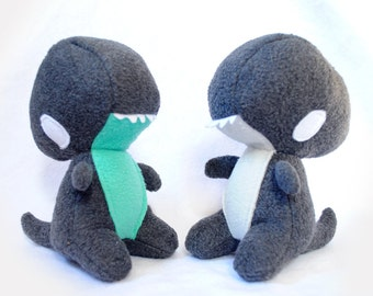 Teal and Grey Baby Trex Dinosaur Plush