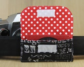 Business Card Holder for Camera Strap - Chalkboard Words - Ready to Ship