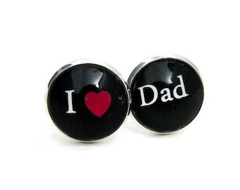I Love Dad Father's Day Cufflinks Cuff Links Mens cufflinks dad birthday gift fathers day gift dad cuff links custom  I  heart