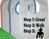 Atv Bib - Atv Baby Bib - Future ATV steps crawl walk BIB 4 wheeler 4x4 quad bib - infant baby bib - Future Atv baby Bib
