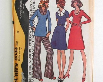 McCalls 3653 Vintage Pattern, Dress, Top, Pants Copyright 1973