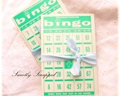 3 Vintage Bingo Cards... VERY Large, Aqua, Teal, Blue, Mystery Sale, Scrapbooking, Cardmaking, Collage, Mixed Media