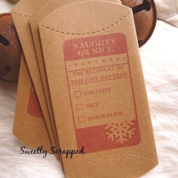 Naughty Or Nice Pillow Boxes RED, Kraft, Brown