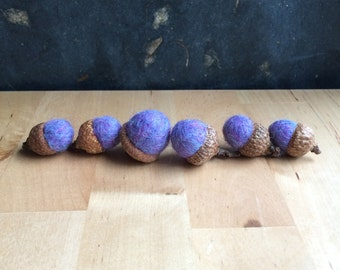 Needle felted wool acorns, set of 6, Purple Jelly Bean, purple felt acorns, Easter alternative, Easter gift, felt waldorf springtime decor