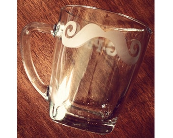 Mustache Coffee Mug, Hand-etched
