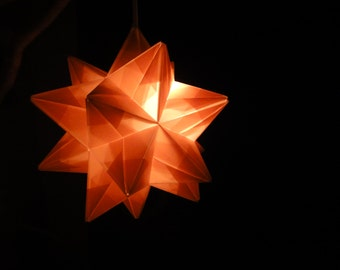 Light Pink Origami Paper Modular Star Lamp Handmade in Vermont