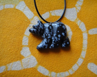 Carved Snowflake Obsidian Stone Bear Fetish Pendant Necklace