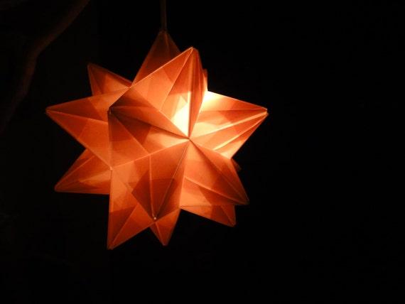 Light pink origami paper modular star lamp handmade in vermont for Paper star lamp