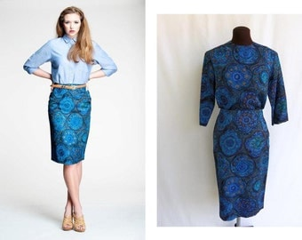 """Vintage 60s 2 Piece Dress Skirt Top in Abstract Blue Print  """"Starry Night"""" Inspired Mix and Match Size S / M"""