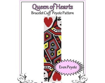 Bead Pattern Peyote(Bracelet Cuff)-Queen of Hearts