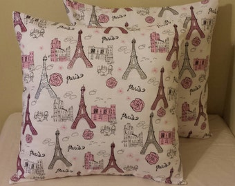 set of 2 white pink silver glitter paris eiffel tower pillow covers sham floral bling girly