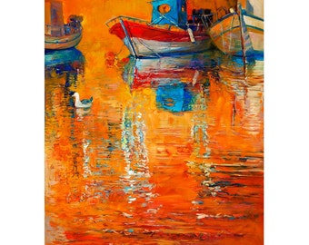 Original Oil Painting on Canvas-Orange reflections 24x31 Original Seascape Impressionistic by Ivailo Nikolov