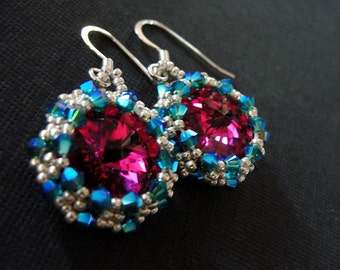 Hot Pink Silver and Turquoise Rivoli and Swarovski Earrings