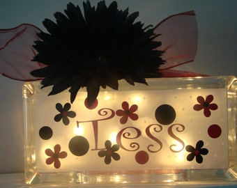 Girls customized personalized glass block night light flowers and dots  vinyl lettering