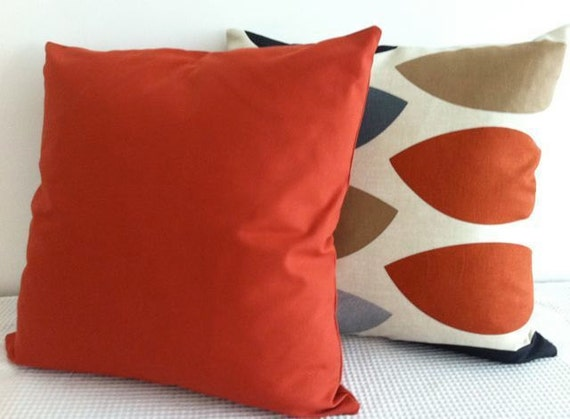 Solid burnt orange Cushion Covers Throw Pillows by miaandstitch