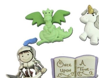 Dragons and Knights Tales Plastic Buttons/DIY Sewing & Craft supplies/Dress it Up/ Self Shank / Party Supplies