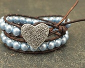 Pale Blue Heart Jewelry Pearl and Leather Heart Bracelet Chunky Shabby Boho Chic Jewelry Leather and Pearl Valentine's Jewelry