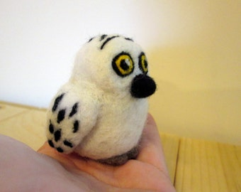 Felted Owl Miniature - Snowy Owl - Needle Felted Animal