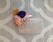 Ribbon Rose Hair Comb - Pink Purple Gray Mustard