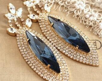 Navy Blue Earrings,Navy Blue Statement Earrings,Navy Chandelier Earrings,Swarovski Chandelier Earrings,Bridal Chandelier Earrings