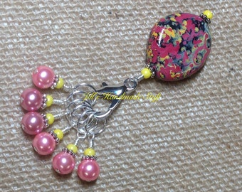 Pink Stitch Marker Holder & Snag Free Pearl Stitch markers- Knitting Gift