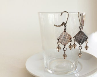 Fine Silver Earrings with Smoky Quartz Beads