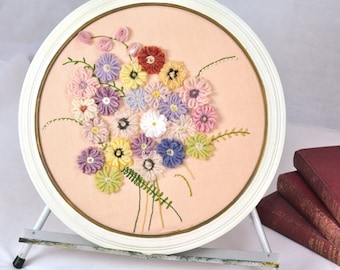 Round Framed Crewel Art Yarn Flowers on Pale Pink Vintage Pastel Bouquet of Flowers Vines Embroidery Feminine Decor