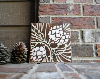 "Pine cones on 8""x8"" Canvas Panel"