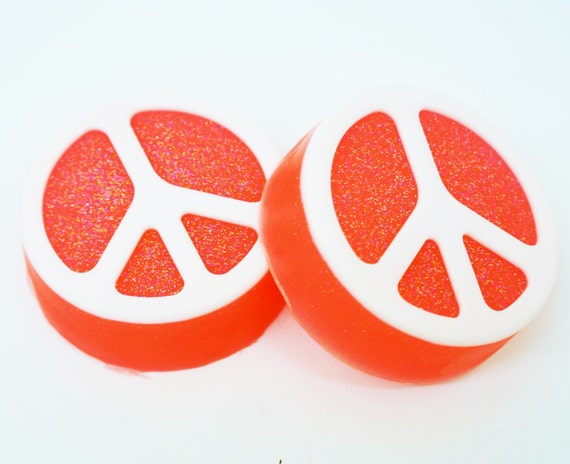Sparkly PEACE SIGN Soap - choose your color, handmade, glycerin, scented, kids, fun, custom party favors, bath, body
