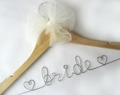Personalized Wedding Hanger with Tulle Bow Decoration - Name Wedding Hanger, Weddng Date Hanger, Wedding Name Hanger, Wedding Date Hanger