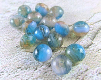 15 Blue Turquoise, Beige & Light Copper 4x6mm Czech Glass  faceted rondelle Jewelry Beads